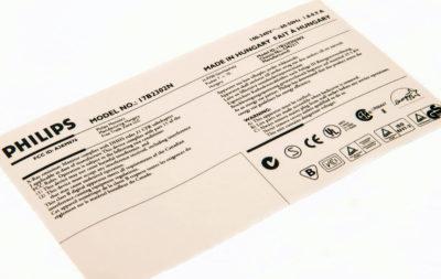 Etichette durevoli per elettrodomestici per rilevamento e tracciabilità, numero di serie, avvertenza e di conformità e tabelle energetiche.